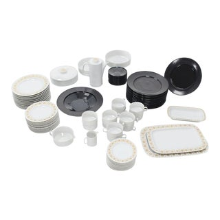 Tapio Wirkkala for Rosenthal Dinner Coffee 80 Pieces Set Plates Noire Porcelain For Sale