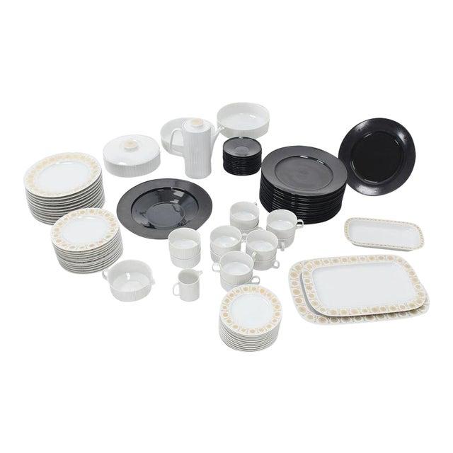 Tapio Wirkkala for Rosenthal Dinner Coffee 80 Pieces Set Plates Noire Porcelain For Sale