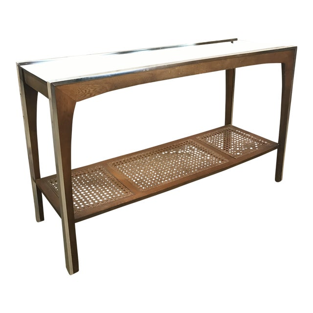Mid-Century Walnut and Chrome Console Sofa Table For Sale