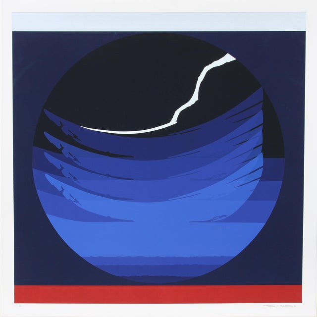 Abstract Gate Series Blue, 1980, Silkscreen by Thomas W. Benton For Sale - Image 3 of 3