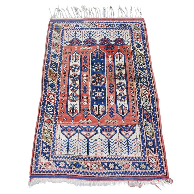 """Vintage Handwoven Peach & Blue Rug - 4'10"""" x 3'2"""" - Image 1 of 7"""