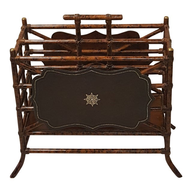 1960s Mid-Century Modern Maitland Smith Bamboo and Leather Magazine Rack For Sale