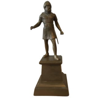19th Century Brass Figural Statue of a Viking For Sale