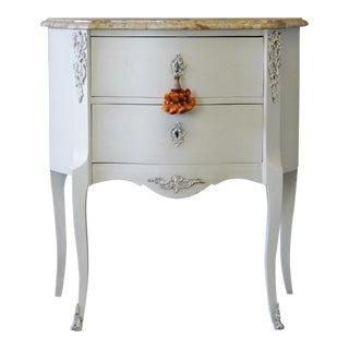 1940s Louis XV Style Marble Topped Walnut Commode