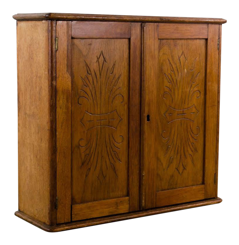 Vintage Oak Two Shelf Storage Wall Cabinet For Sale