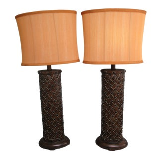 Sterling Industries Brown Basket Weave Table Lamps With Shades - a Pair For Sale