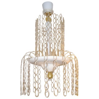 Seguso Vetri d'Arte 1970s Italian Gold and White Murano Glass Cascade Chandelier For Sale