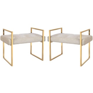 Jonathan Adler Caine Blush Velvet Bench Set - A Pair