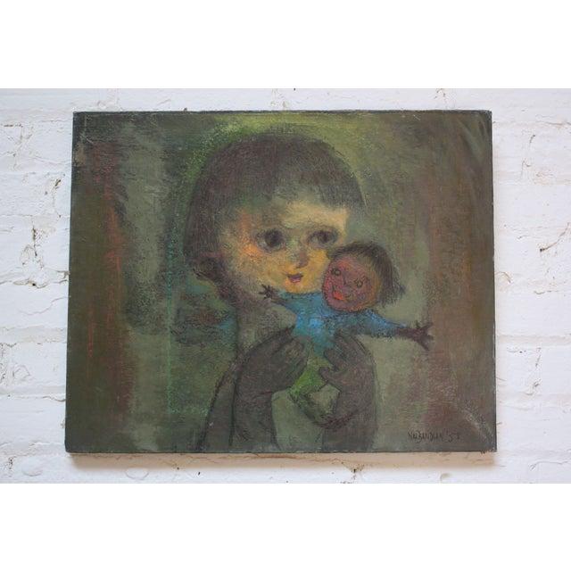 Karnig Nalbandian 'Blue Doll' Oil on Canvas, 1953 For Sale - Image 11 of 11