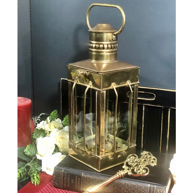 Vintage Nautical Marine Solid Brass Lantern Oil Lamp For Sale - Image 10 of 12