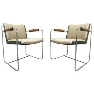 Pair Unique, Wood & Chrome Arm Chairs For Sale