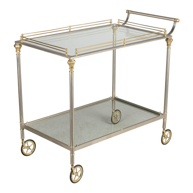 1970s Maison Jansen Style Italian Bar Cart For Sale