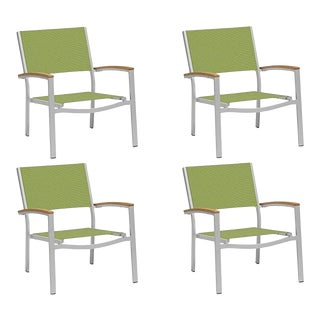 Outdoor Sling Lounge Chair, Natural and Green (Set of 4) For Sale