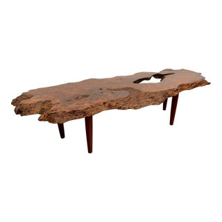 Vintage Burled Live Edge Coffee Table For Sale