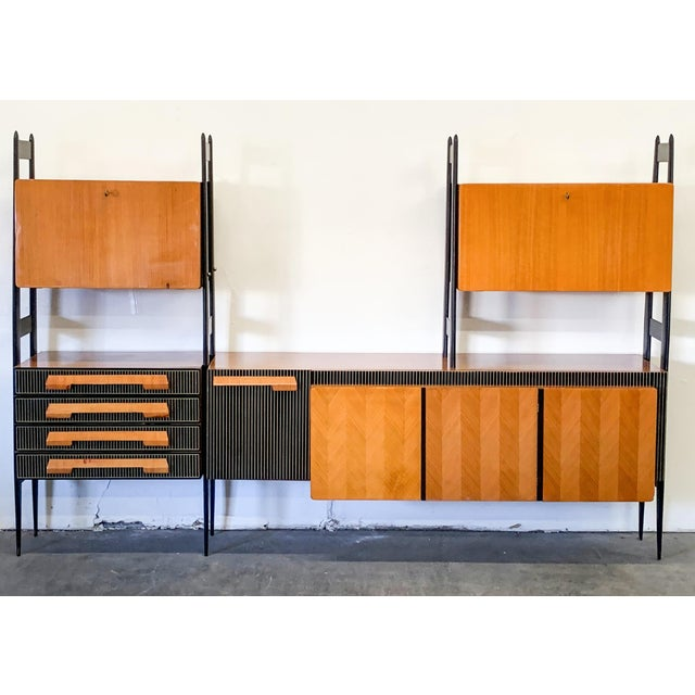 Large Italian Modern Wall Unit, Italy, 1950's For Sale - Image 9 of 11