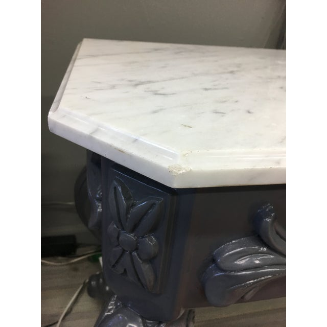 Baroque Vintage Grey Lacquered & Marble Top Console For Sale - Image 3 of 11