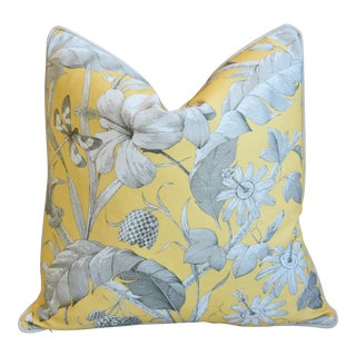 "Designer English Floral & Nature Linen/Velvet Feather & Down Pillow 24"" Square For Sale"