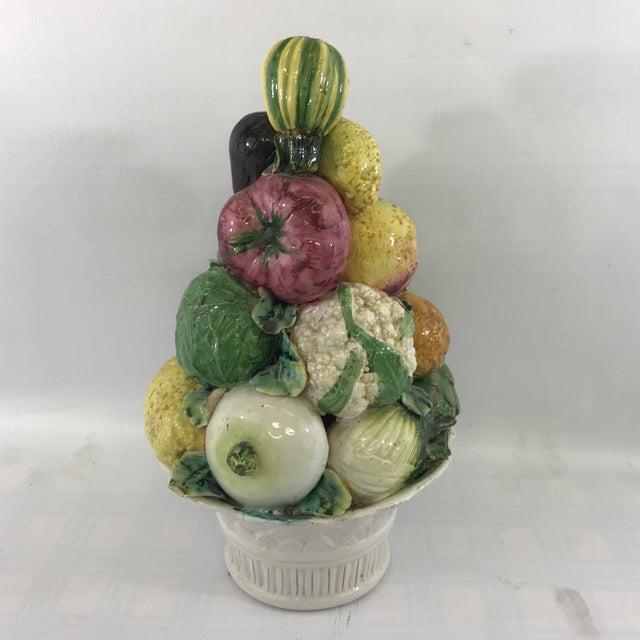 Large Antique Porcelain Vegetable Basket Centerpiece For Sale - Image 10 of 10