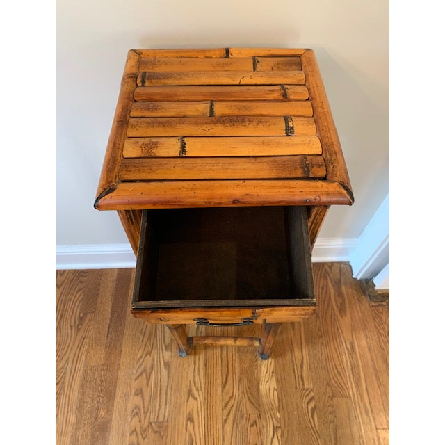 Vintage Burnt Bamboo Vintage Plant Stand With Drawer For Sale In New York - Image 6 of 7