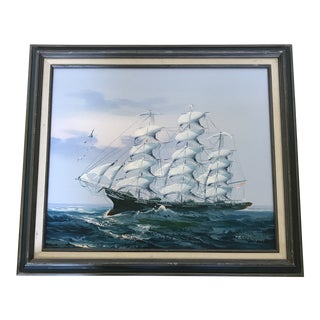 Vintage Original Nautical Ship Oil Painting For Sale