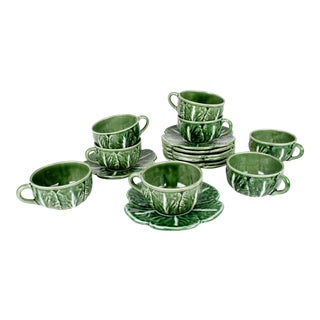 Bordallo Pinheiro Green Majolica Cabbage Tea Cups and Saucers - Set of 8 For Sale