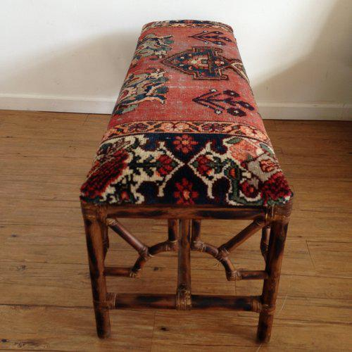 Vintage Boho Style Rattan & Persian Rug Bench For Sale - Image 4 of 10