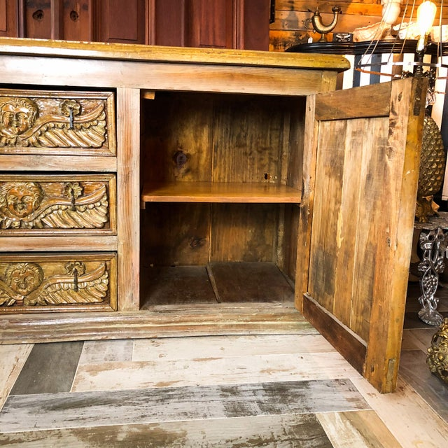 Antique Mexican Hand Carved Wood Sideboard With Cherubs and Green Man Motif For Sale - Image 10 of 11