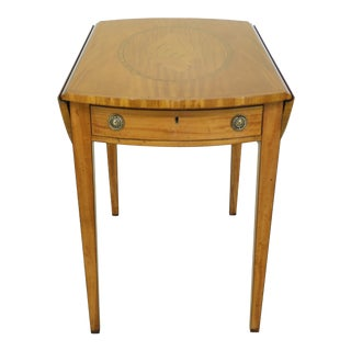 English Custom Made Satinwood Inlaid Pembroke Table For Sale