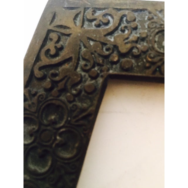 Antique Goth Memoria Morti Bronze Picture Frame - Image 5 of 6