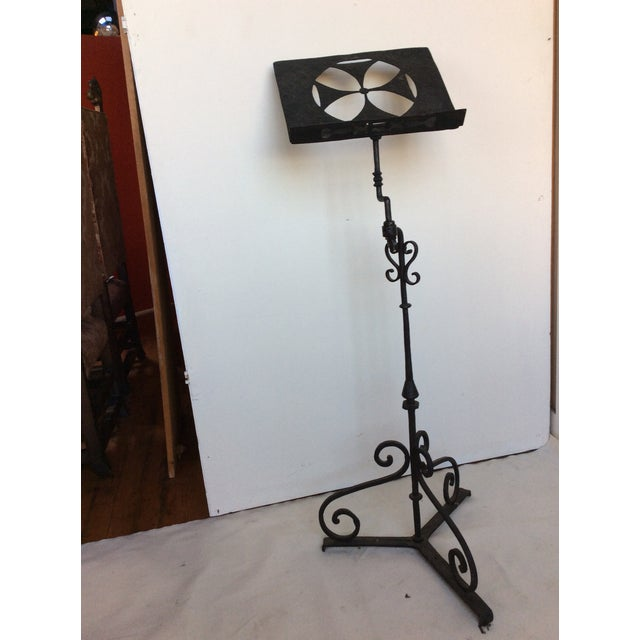 Baroque Antique Iron Lectern With Maltese Cross For Sale - Image 3 of 8