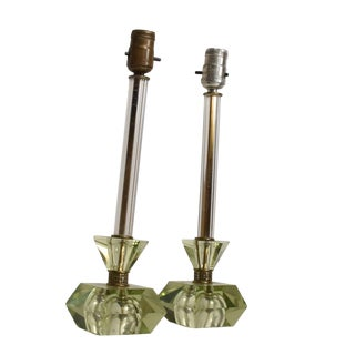 Hollywood Regency Era Crystal Table Lamps With Light Green Color Set of 2 For Sale