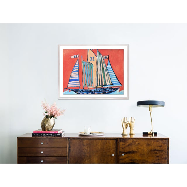 Contemporary SB Norman's Cay by Lulu DK in White Wash Framed Paper, Medium Art Print For Sale - Image 3 of 4