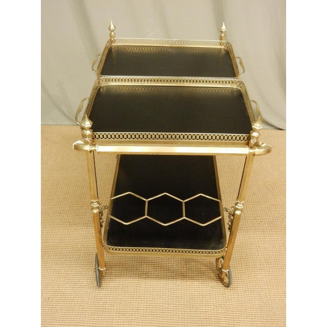 Early 20th Century Vintage French Brass Bar Cart For Sale - Image 5 of 8