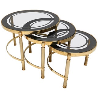 Brass Nesting Tables With Smoked Glass Tops - Set of 3 For Sale