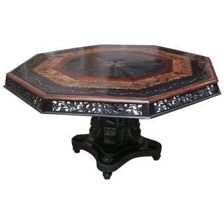 1850s Asian Solid Ebony Hexagonal Specimen Wood Table For Sale