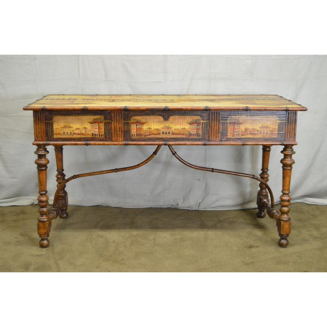 *STORE ITEM #: 16401-ax Chinese Hand Painted Large Faux Bamboo Hall Table or Sideboard AGE / ORIGIN: Approx. 25 years,...