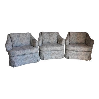 Mid-Century Modern Light Gray Floral Barrel Arm Chair - Set of 3 For Sale