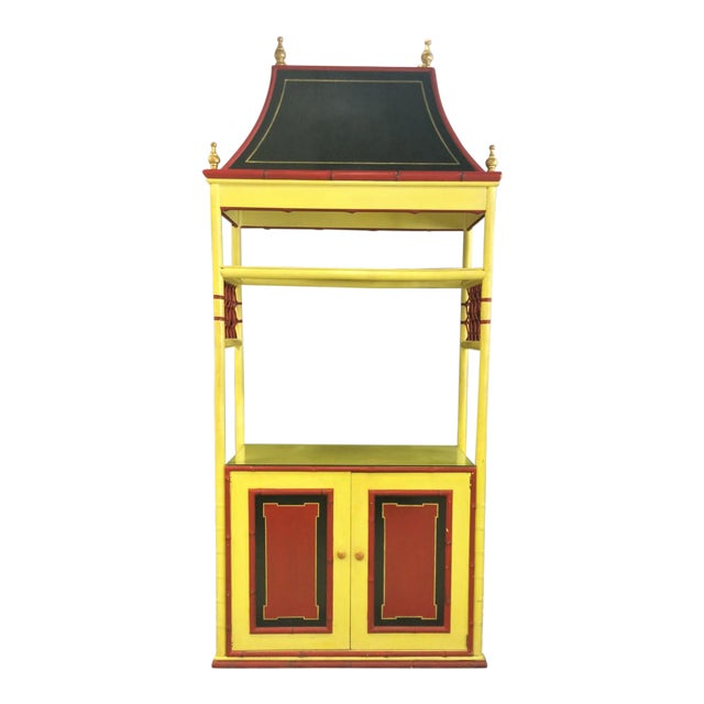 Palm Beach Chinoiserie Pagoda Display Cabinet For Sale