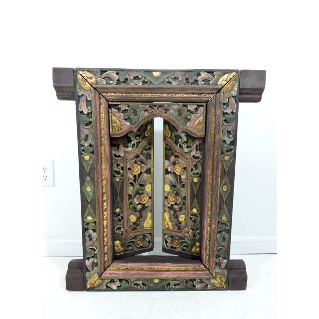 Mid 20th Century Vintage Hand Carved Floral Indian Window Frame or Wall Panel For Sale - Image 5 of 10