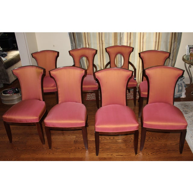 "6 Elegance side chairs W 20 3/4"" D 23 3/4"" H 37 3/4"" Seat height 19 in. (48 cm.) Upholstered seat and back Walnut solids,..."