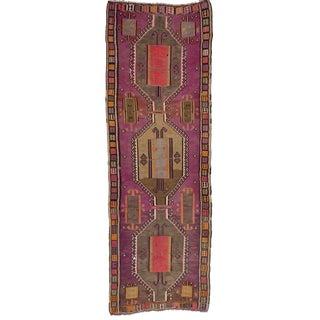Vintage Turkish Kars Wool Kilim Runner Rug- 4′9″ × 13′11″