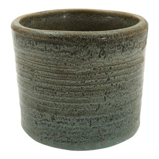 Vintage Zanesville Stoneware Company Ribbed Mossy Green Cylindrical Planter For Sale