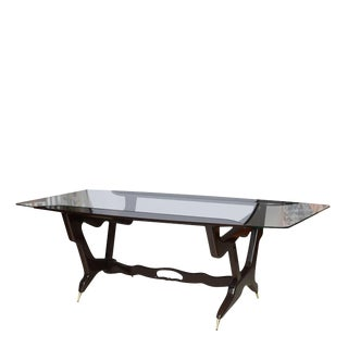 Rare Italian Modern Dark Walnut and Brass Writing/Centre Table, Gian Casè For Sale