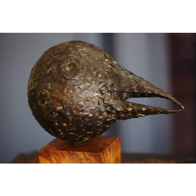 Brutalist Brutalist Style Minimalist Black Bird with a Long Beak on a Wood Base For Sale - Image 3 of 8
