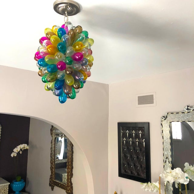 Contemporary Light Fixture of Stained Hand Blown Glass For Sale - Image 3 of 10