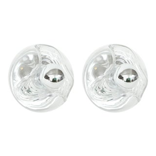 Peill and Putzler Modernist Clear Glass Sconces - a Pair For Sale