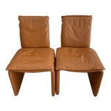 Image of Mid Century Italian Honey Leather Armless Chairs - a Pair For Sale