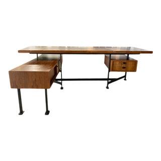 1970s Mid-Century Modern Italian Rosewood Executive Desk For Sale