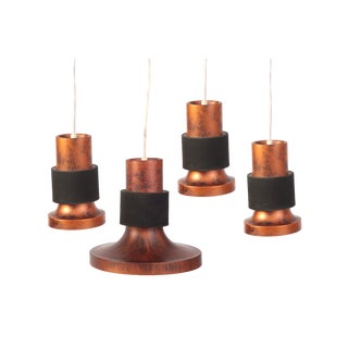 Lightolier Patinated Copper & Metal Pendant Lights - Set of 4 For Sale
