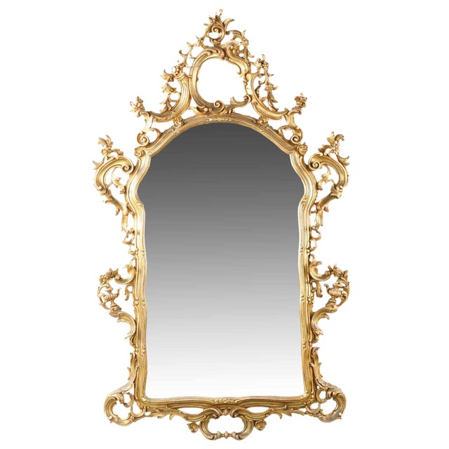 French Louis XV Style Carved Giltwood Antique Mirror - Image 1 of 10
